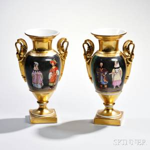 Pair of Limoges Porcelain Vases with Chinoiserie Scenes