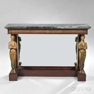 French Empirestyle Marbletop Mahogany Pier Table