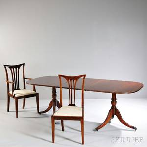 Regencystyle Doublepedestal Dining Table and Six Chairs