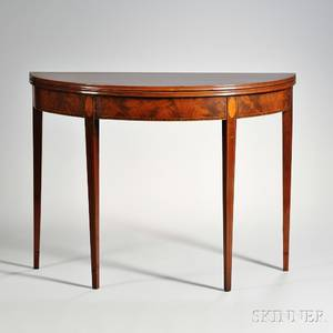 George III Sheratonstyle Mahogany Demilune Card Table