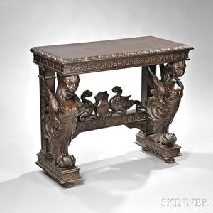 Renaissance Revival Carved Mahogany Hall Table