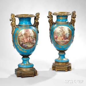 Pair of Sevresstyle Porcelain Floor Vases