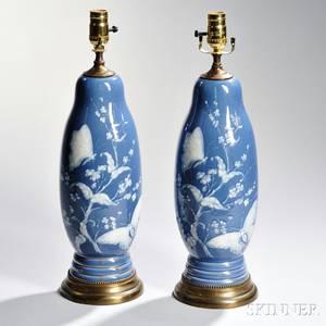 Pair of Limoges Porcelain PatesurPate Lamp Bases