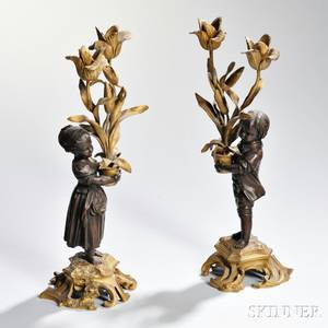 Pair of Louis XVstyle Bronze Twolight Candelabra