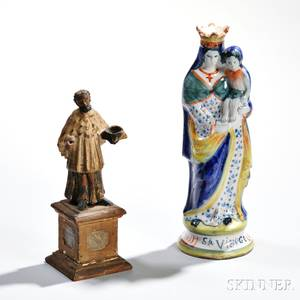 Two Quimpertype Figures of the Madonna amp Child and a Carved Wood Saint