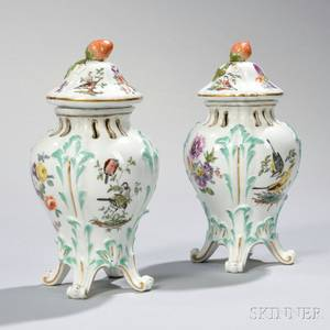 Pair of Meissen Potpourri Vases with Covers