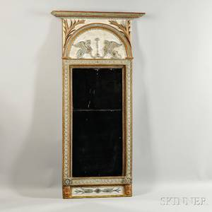 Neoclassical Painted and Parcelgilt Mirror