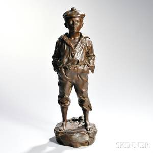 After V Szczeblewski Polish act 18751900 Bronze Model of a Boy