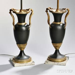 Pair of Charles X Giltbronze and Patinated Metal Vases