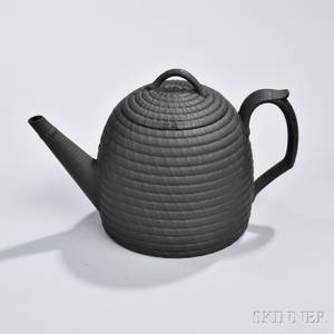 Wedgwood Black Basalt Beehive Teapot and Cover