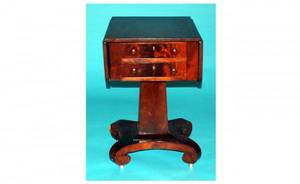 1270 American 19th Century Mahogany Empire DropLeaf W
