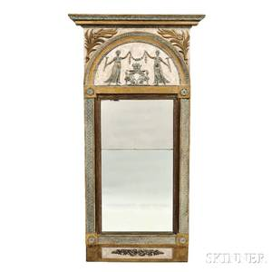Neoclassical Painted and Parcelgiltwood Overmantel Mirror