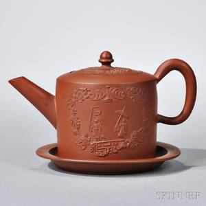 Staffordshire Redware Teapot with Cover and Stand