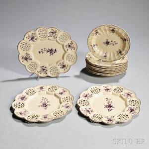 Eleven Staffordshire Creamware Reticulated Dishes