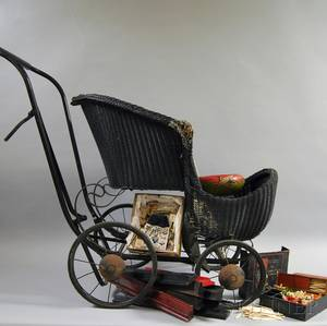 Partial Mahjong Set and a Victorian Blackpainted Wicker Baby Carriage