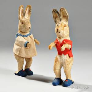Two Standing Rabbit Candy Containers