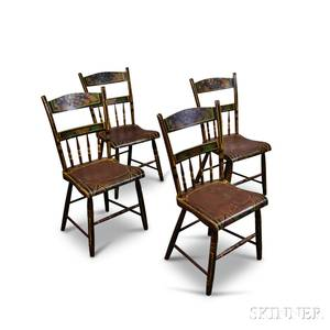 Set of Four Paintdecorated Side Chairs