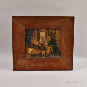 Framed Marquetry Panel Depicting a Violinmaker and His Workshop