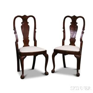 Pair of Queen Annestyle Carved Walnut Side Chairs