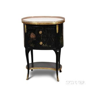 Regencystyle Chinoiseriedecorated Lacquered Marbletop Side Table