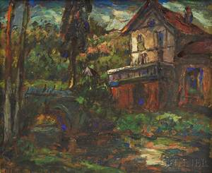 Albert Vagh French b 1931 Landscape with Bridge and House