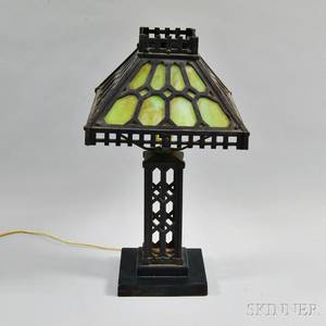 Cast Iron and Slag Glass Table Lamp