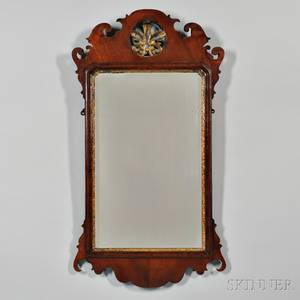 Queen Annestyle Parcelgilt Mahogany Mirror