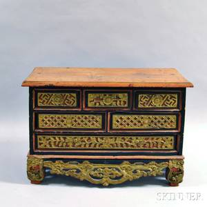 Small Chinese Carved Teak Chest of Drawers