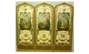 258 Antique French Louis XV HandPainted ThreePanel