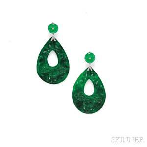 18kt White Gold Jade and Diamond Earpendants