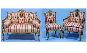 257 French Louis XVIStyle ThreePiece Carved Gilded