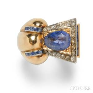 Retro 18kt Gold Sapphire and Diamond Ring