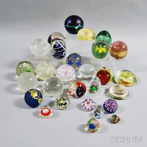 Twentyeight Glass Paperweights