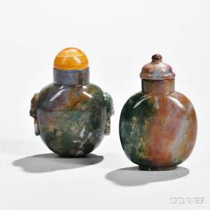 Two Moss Agate Snuff Bottles