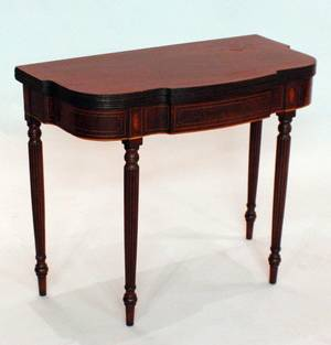 1204 FEDERAL INLAID MAHOGANY GAME TABLE American Circ