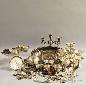 Group of Assorted Sterling Silver and Silverplate Tableware and Flatware
