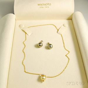 Mikimoto 18kt Gold Diamond and Pearl Necklace and a Pair of Tahitian Pearl Earrings