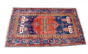 176 SemiAntique Kazak Rug The blue centerfield woven