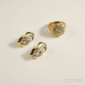 14kt Gold and Diamond Ring and Earrings