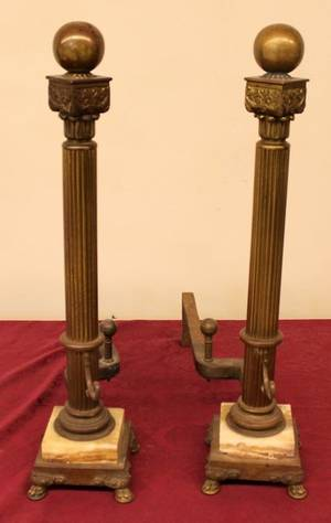 Pair of Brass  Marble Column Motif Andirons