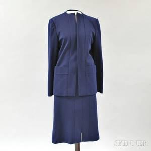 Pauline Trigere Navy Blue Wool Suit