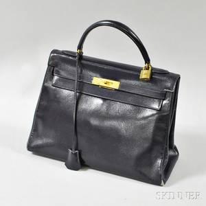 Navy Leather Kelly Handbag Hermes