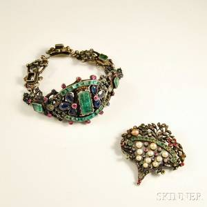 Austrian Gemset Bracelet and Brooch