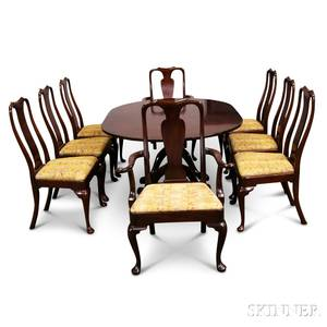 Georgianstyle Mahogany Doublepedestal Dining Table and a Set of Eight Queen Annestyle Chairs