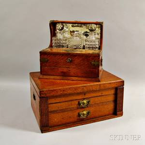 Edwardian Oak Tantalus and a Silver Chest
