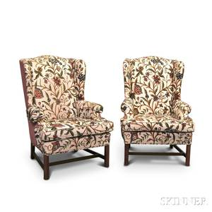 Pair of Chippendalestyle Upholstered Mahogany Wing Chairs