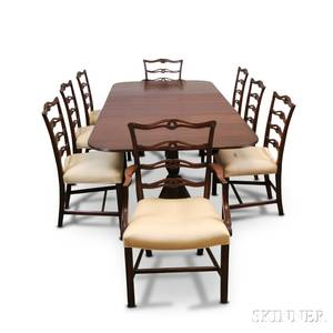 Georgianstyle Mahogany Doublepedestal Table and a Set of Eight Ribbonback Chairs