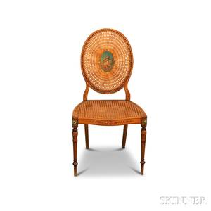 Adamsstyle Satinwood Paintdecorated and Caned Side Chair