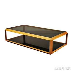 Midcentury Laminated Oak and Glass Coffee Table