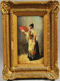 Continental School 19th20th Century Portrait of a Woman with a Fan